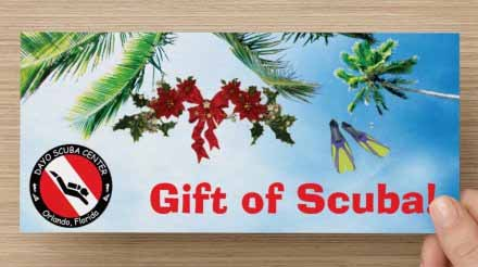 Dayo Scuba Orlando Florida Gift Certificates for holidays